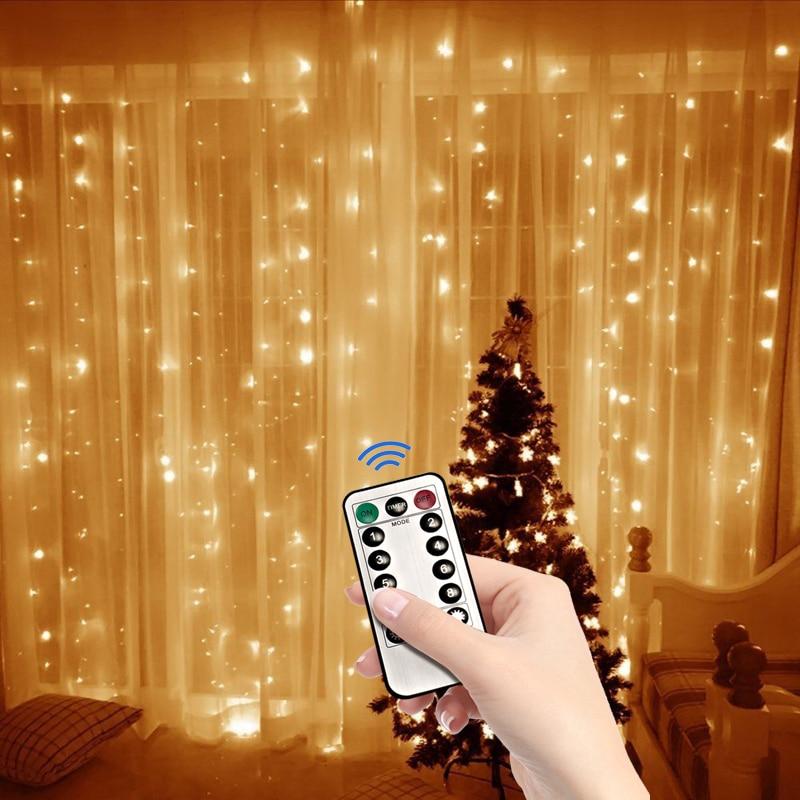 3m led usb power controle remoto cortina luzes de fadas guirlanda natal luzes led string luzes festa jardim casa decoração do casamento Fios de LED    -