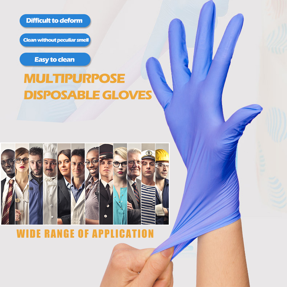 Image 2 - 100pcs/set Nitrile Gloves NBR PPE Disposable Dustproof Cleaning Home Garden Gloves Food Mechanism Testing Household CleaningSafety Gloves   -