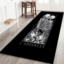 2019 Halloween Theme Skeleton Pattern Rectangle Area Rug Soft Flannel Floor Mat Carpet With Non-Slip Back Holiday Home Decor