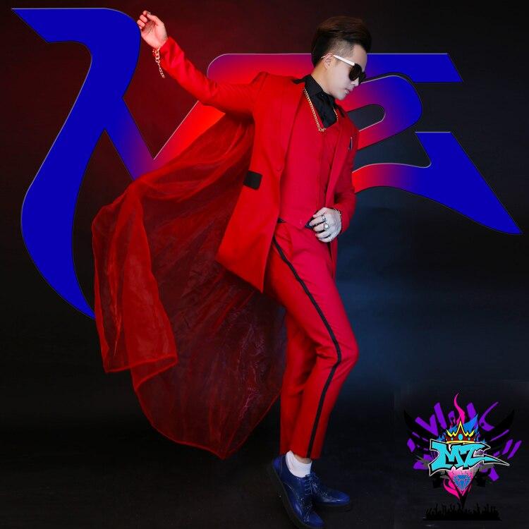 S-XL!Tide Suit Suit Male Singer Gauze Cape Performance Clothing Nightclub Hairdresser Slim Suit Bar Dj Jacket.