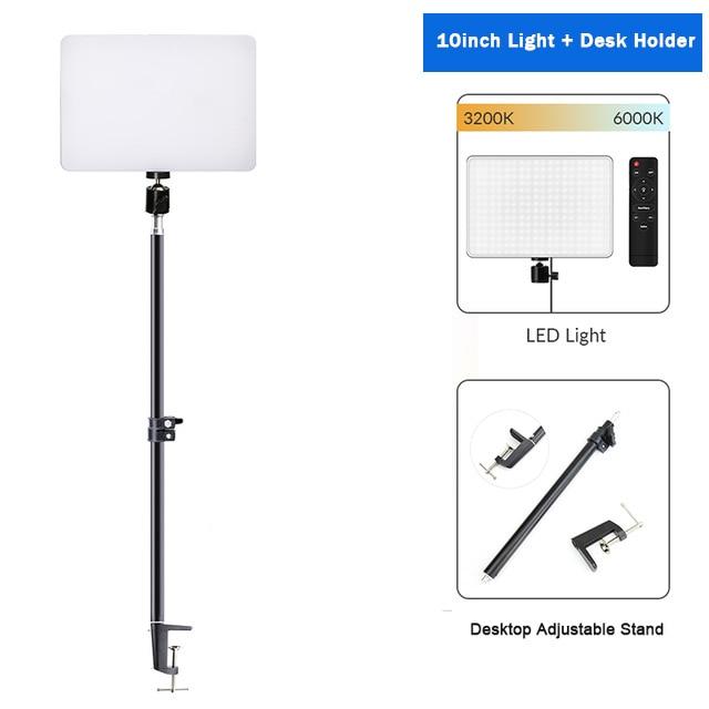Hff91ef4b6cf04208867a5ecafd997d01R Dimmable LED Video Light Panel EU Plug 2700k-5700k Photography Lighting For Live Stream Photo Studio Fill Lamp Three Color