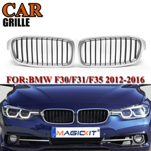 MagicKit for BMW F30 F31 F35 3 Series 2012-2017 1Pair Front Kidney Grill Grilles Chrome With Black Car Styling Racing Grille 1 pair f30 car styling front grill style f31 kidney black replacement grille hood for bmw 3 series f30 f31 2012 2016 gloss black
