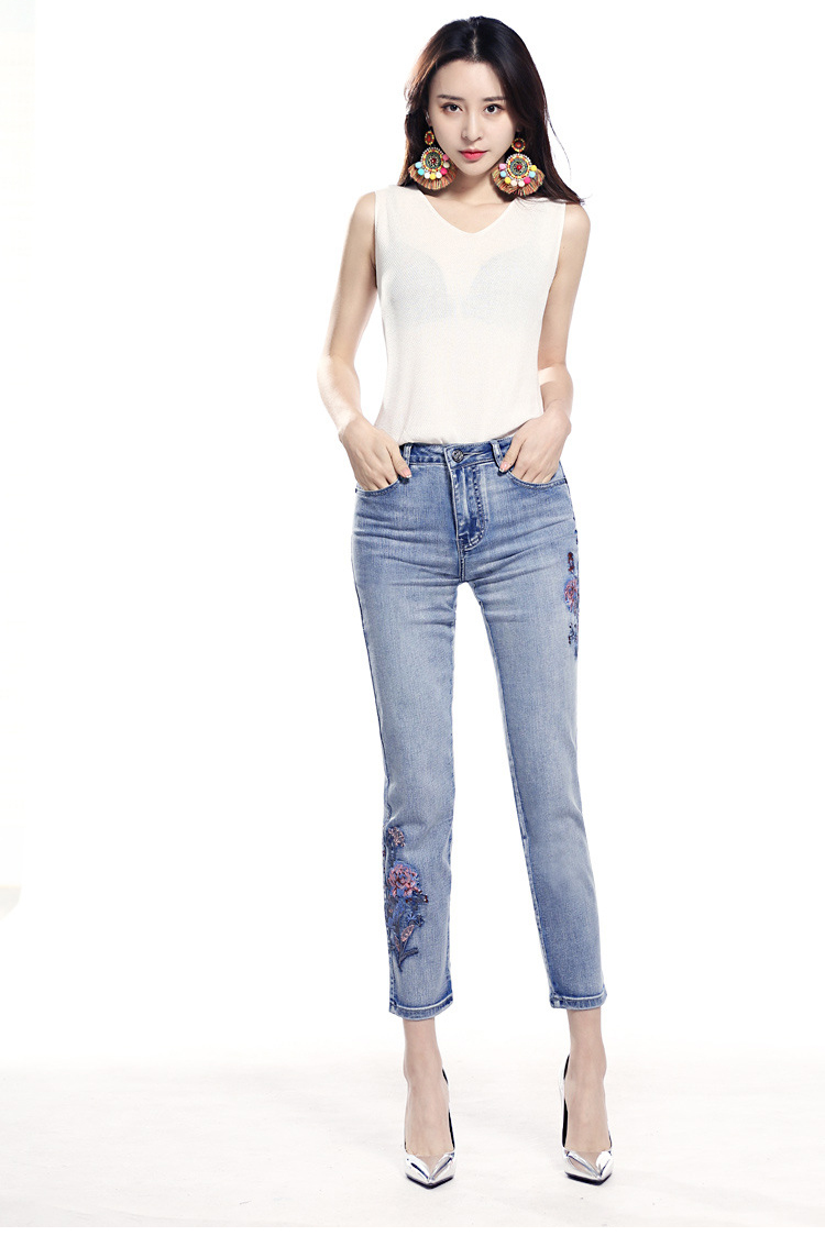 KSTUN FERZIGE high waist jeans women light blue stretch cropped pants embroidery flowers spring and summer jeans slim straight mujer 12