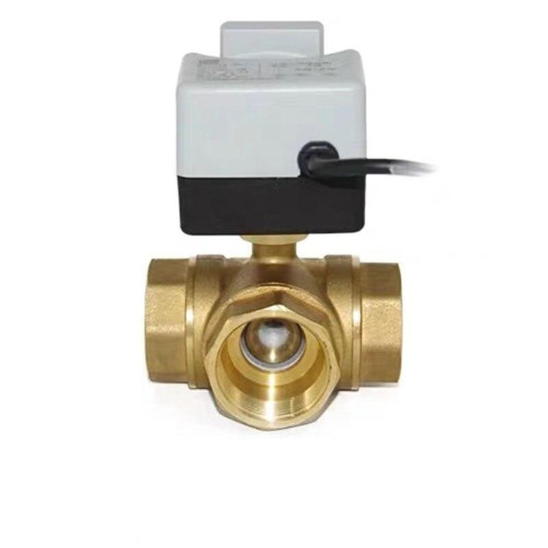 Латунный моторизованный шаровой клапан 3-Wire два управления электрический привод AC220V 3 Way/2 Way DN15 DN20 DN25 DN32 DN40 с ручным переключателем
