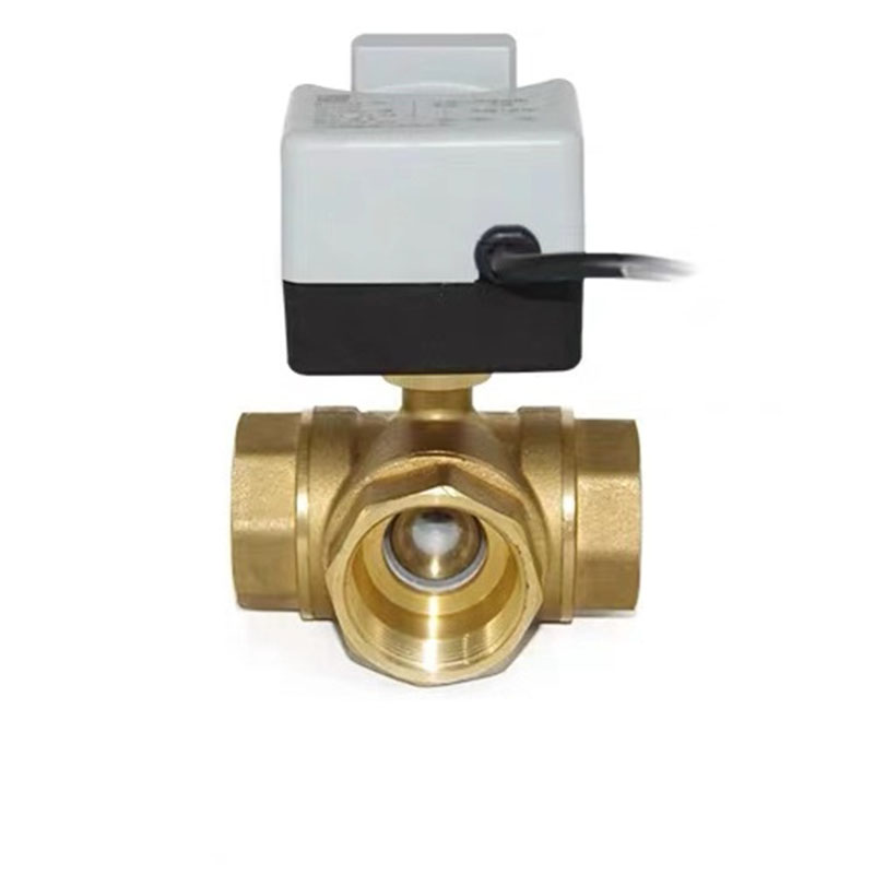 AC220V 3-way Brass Electric Motorized Ball Valve Three-wire Two Control For Air Conditioning DN15 DN20 DN25 DN32