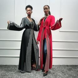 Frauen Kaftan Dubai Abaya Kimono Türkische Hijab Muslimischen Kleid Strickjacke Islam Abayas Robe Musulman Kaftan Marocain Islamische Kleidung