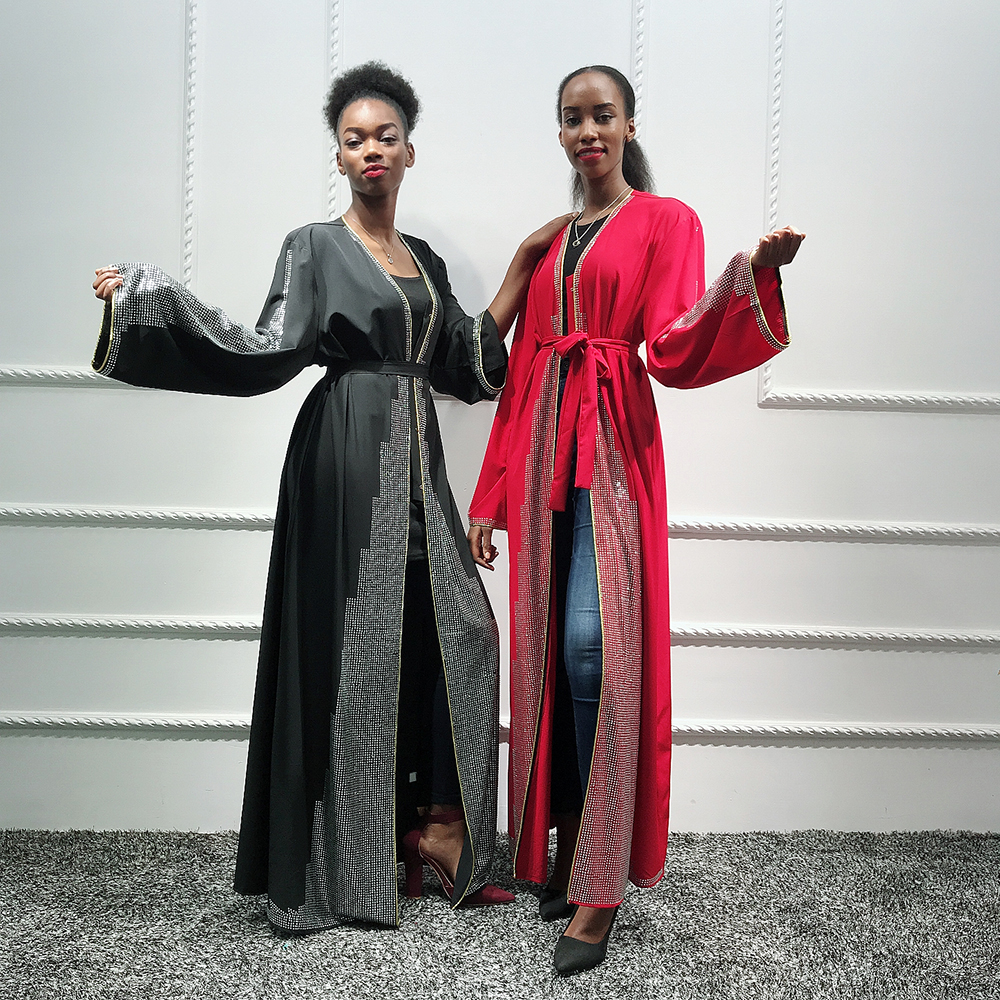 Women Kaftan Dubai Abaya Kimono Turkish Hijab Muslim Dress Cardigan Islam Abayas Robe Musulman Caftan Marocain Islamic Clothing
