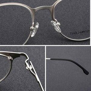 Image 4 - Liga de titânio retro óculos redondos quadro de prescrição óptica armação de óculos mulher clara miopia vintage óculos quadro