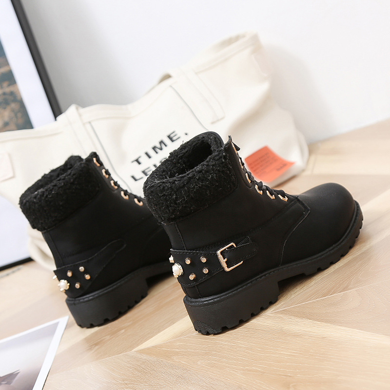 Size 43 women winter boots 2019 New Arrival Fashion Suede Women Snow Boots Metal rivet Warm Plush Women's Ankle Boots Flat shoes 29
