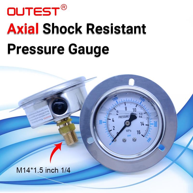 OUTEST Axial Stainless Steel  Air Oil Water Hydraulic Pressure Gauge Thread G 1/4 Manometer Pressure Gauge 17 Measuring Range