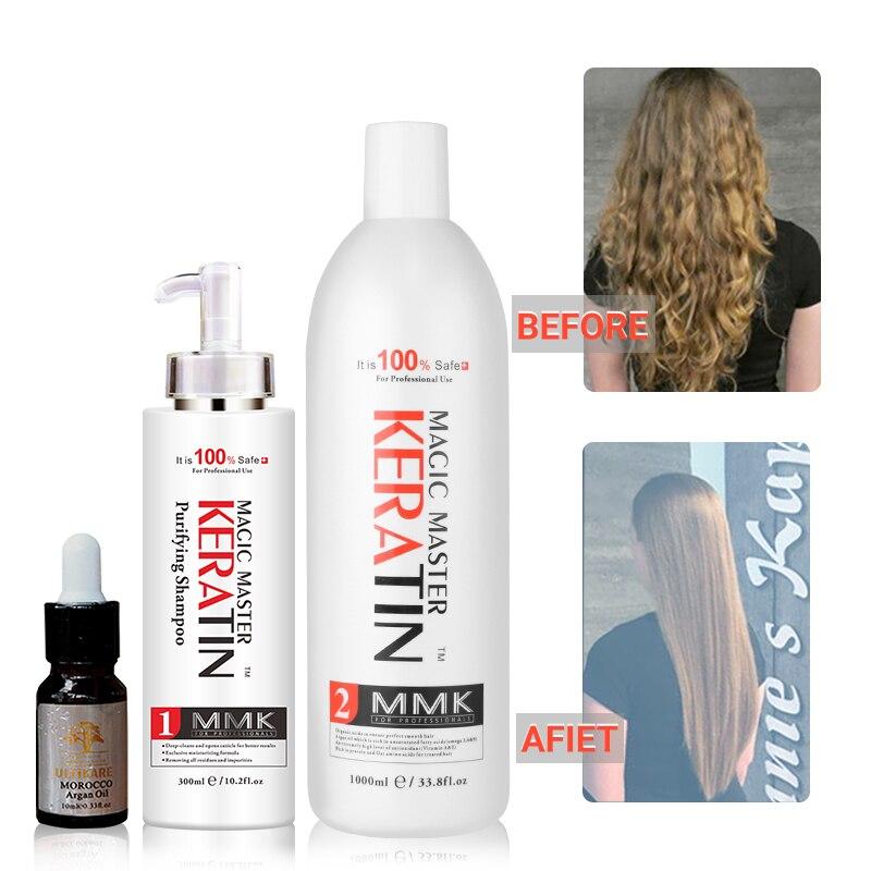 WITHOUT Formalin Brazilian Keratin Treatment+300ml Purifying Shampoo Straighten and Repair Damage Hair+Argan Oil