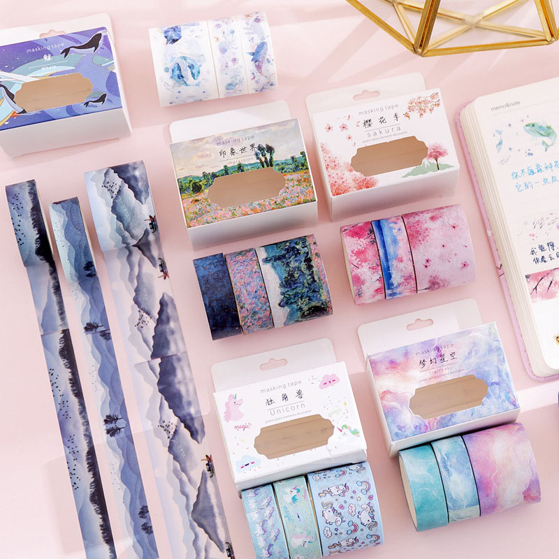 3 Pcs/Set Cute Unicorn Washi Tape Kawaii Whale Masking Tape Vintage Decorative Tape For Stickers Scrapbooking Stationery Tapes
