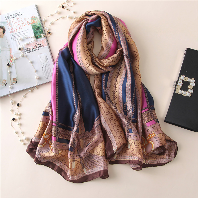 New European And American Decoration Silk Scarf Floral Printing Silk Scarf European And American Fashion Decoration Shawl