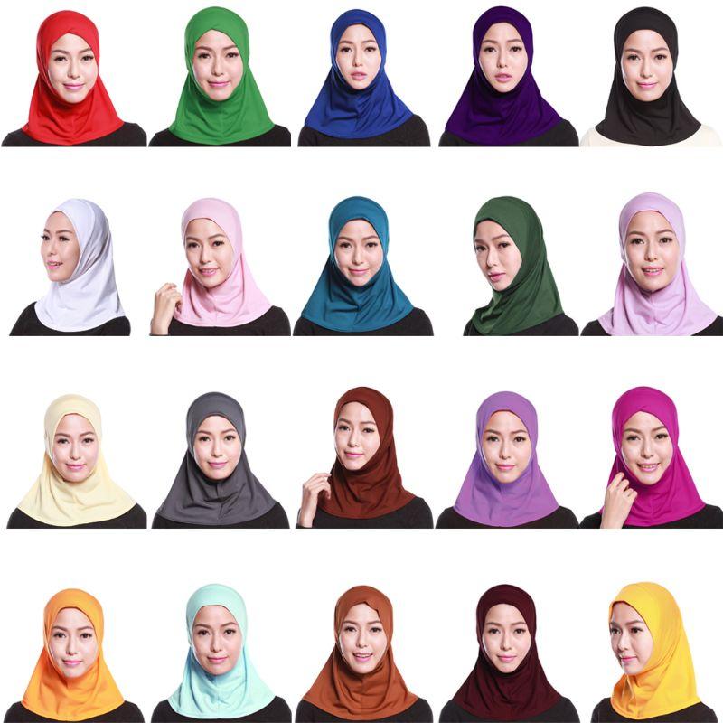 Womens Muslim Cotton Mini Hijab Head Scarf Solid Color Full Cover Inner Cap Islamic Arab Wrap Shawl Turban Hat Headwear