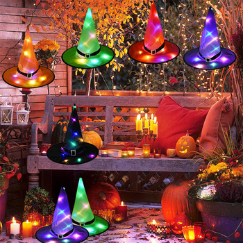1pcs Halloween Witch Hat with LED Light Glowing Witches Hanging Decor Suspension Tree for Kids