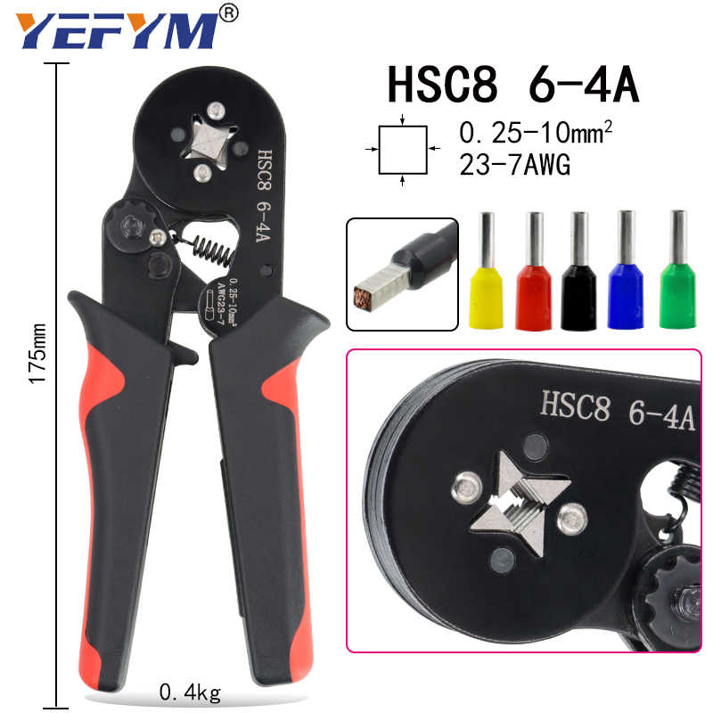 HSC8 16-6 0.08-16mm2 압착 공구 펜치 전기 관형 단자 박스 미니 클램프 HSC8 10S/6-6/16-4 자동 조절 공구 세트