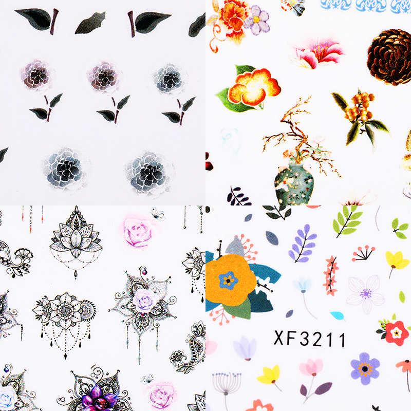 สไตล์วินเทจ 3D สติกเกอร์เล็บดอกไม้สีสันรูปแบบผสม BAIL สติกเกอร์สำหรับ DIY Nail Art Design ตกแต่ง 1 แผ่น