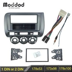 Image 1 - Fascia de Radio para Honda Jazz City One, doble Din, DVD, estéreo, Kit de instalación de montaje en Panel de CD, marco ajustable, bisel