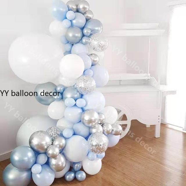 """84 sztuk/zestaw zestaw balonowy Garland Arch 5 """" 18"""" Sliver biały niebieski balony na urodziny prysznice dla dzieci przyjęcie weselne dekoracje"""