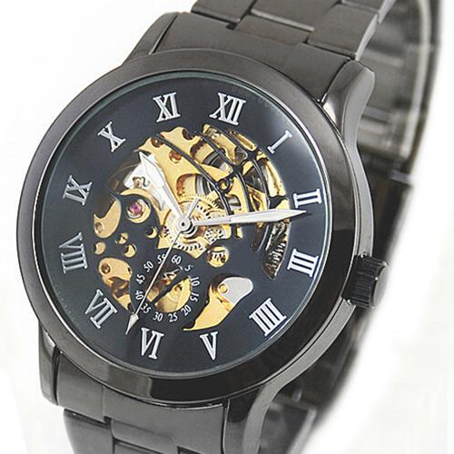 Luxury Men's Roman Numerals Tungsten Steel Mechanical Skeleton Wrist Watch Mas-culino Fashion Men's Watch Large Dial Militarys
