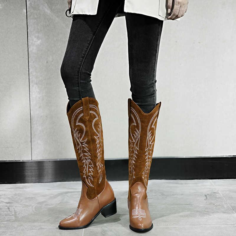 Lucyever Klasik Işlemeli Batı Kovboy Çizmeleri Kadınlar için Deri Tıknaz Topuklu Ayakkabılar Kadın Diz Yüksek Patik Artı Boyutu 34- 46