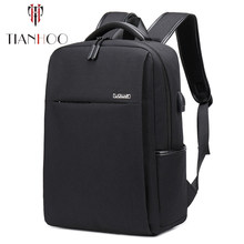 TIANHOO High quality Leisure computer backpack USB charging business men bag vintage student bags(China)