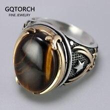 Genuine Solid 925 Zilveren Ringen Cool Vintage Ringen Natuurlijke Onyx Tiger Eye Grote Turkse Ringen Voor Mannen Met Stenen Turkse sieraden