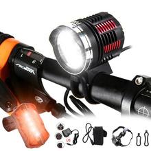 купить 6000 Lumen 3x CREE XM-L2 LED Cycling Front Bicycle Bike light Headlight Headlamp Adjustable Headband & Rear light по цене 1757.24 рублей
