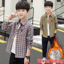 Teenager Boy Warm Shirt for Children Autumn Winter Plush Boys Plaid Shirts High Quality Cotton Childrens Blouse 4-13T