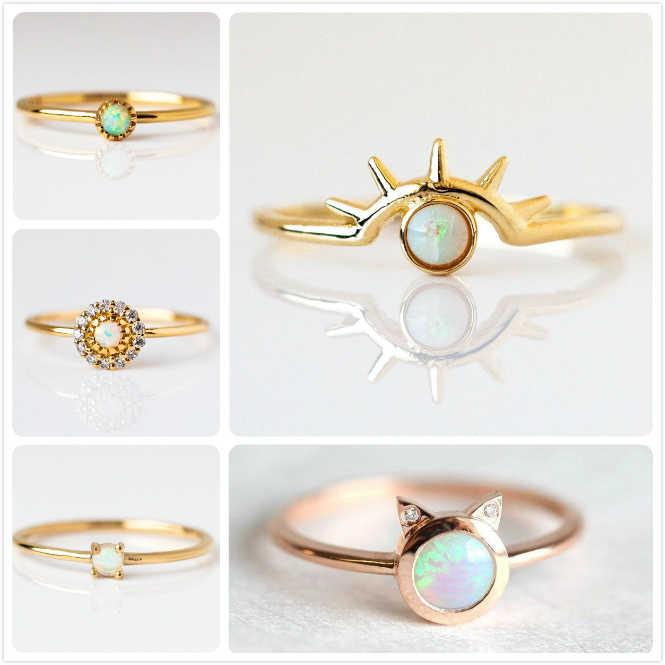Dainty Hỏa Thạch Anh Vàng Opal Cho Nữ, Nhẫn Nữ Cưới LỜI HỨA Vòng Ác Mắt Mèo Đá anillos Cô Gái Tặng Pha Lê Zircon Hoa nhẫn R5