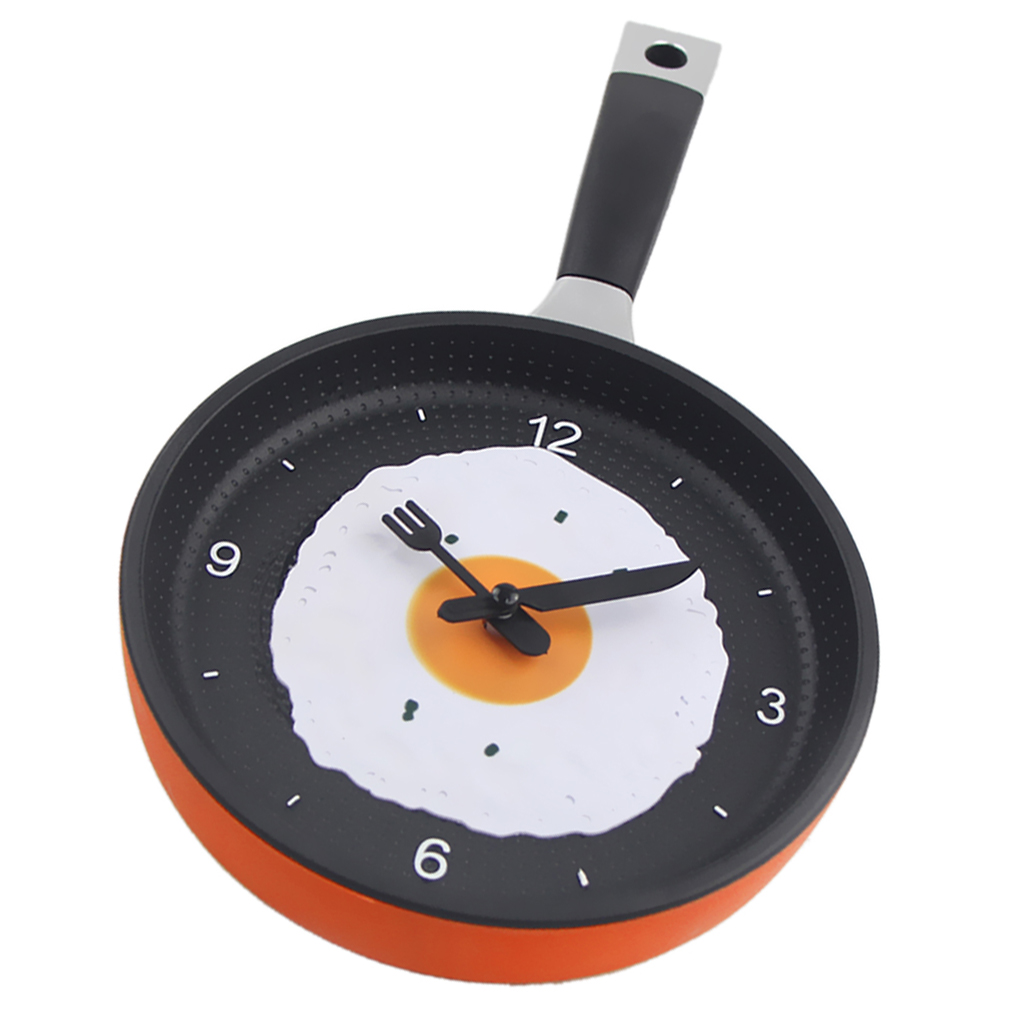 Kitchen Theme Wall Clock,Frying Pan Shaped with Fried Egg Silent Wall Clock, Non-Ticking,Modern Style Wall Clock