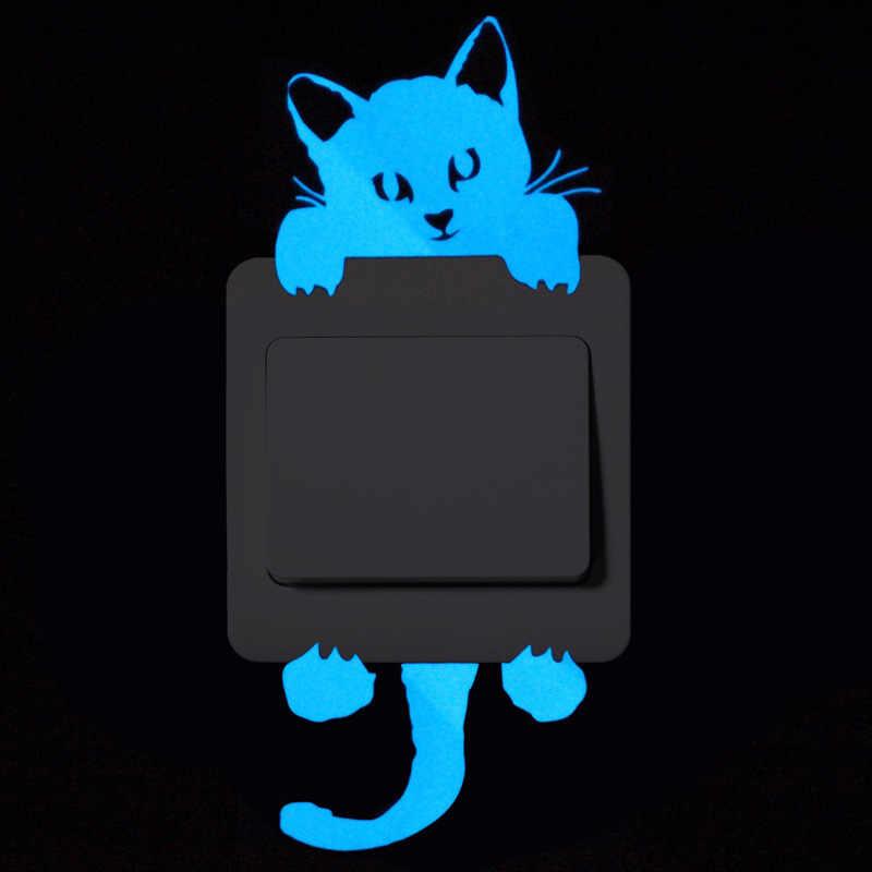 الكرتون DIY بها بنفسك القط الجنية نجوم الفلورسنت ملصق تحويل توهج في الظلام ستار ملصقات جدار للأطفال غرف ديكور ديكور المنزل