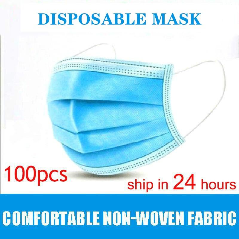 Masks Disposable 100pcs Nonwove 3 Layer Ply Filter Mask Mouth Filter Breathable Dustproof Masks 10 Pcs/50 Pcs