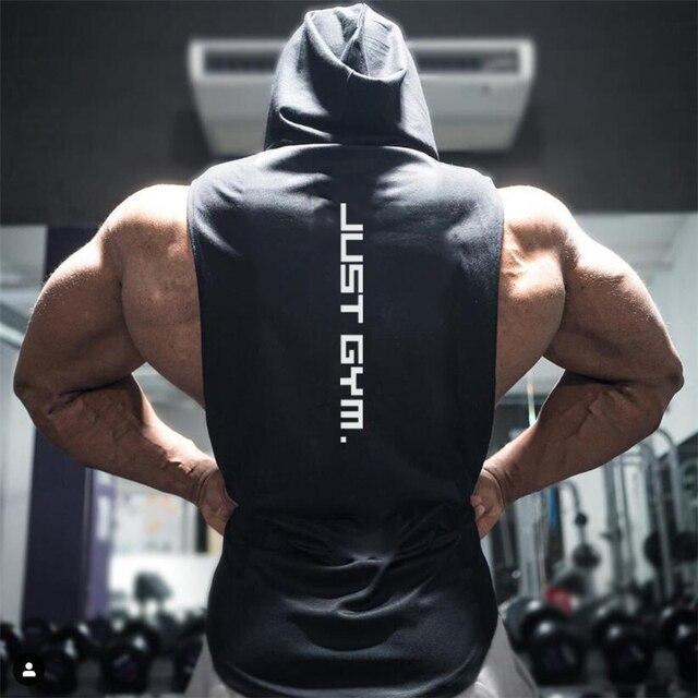 New Fashion Cotton Sleeveless Shirts Gym Hoodies Tank Top Men Fitness Shirt Bodybuilding Singlet Workout Vest Men 2