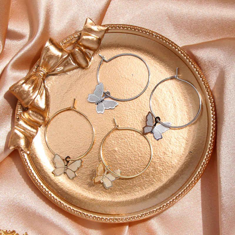 Po prostu FEEL artystyczna skorupa kwiat kropla kolczyki dla kobiet dziewczyna złota geometryczna moda akrylowa motyl biżuteria kolczyki w stylu statement