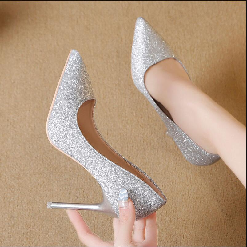 2020 Spring NEW Silver High Heels Women Pumps Pointed toes Shoe Woman Single Shoes Slip-On Female Glitter Bling Black Gold