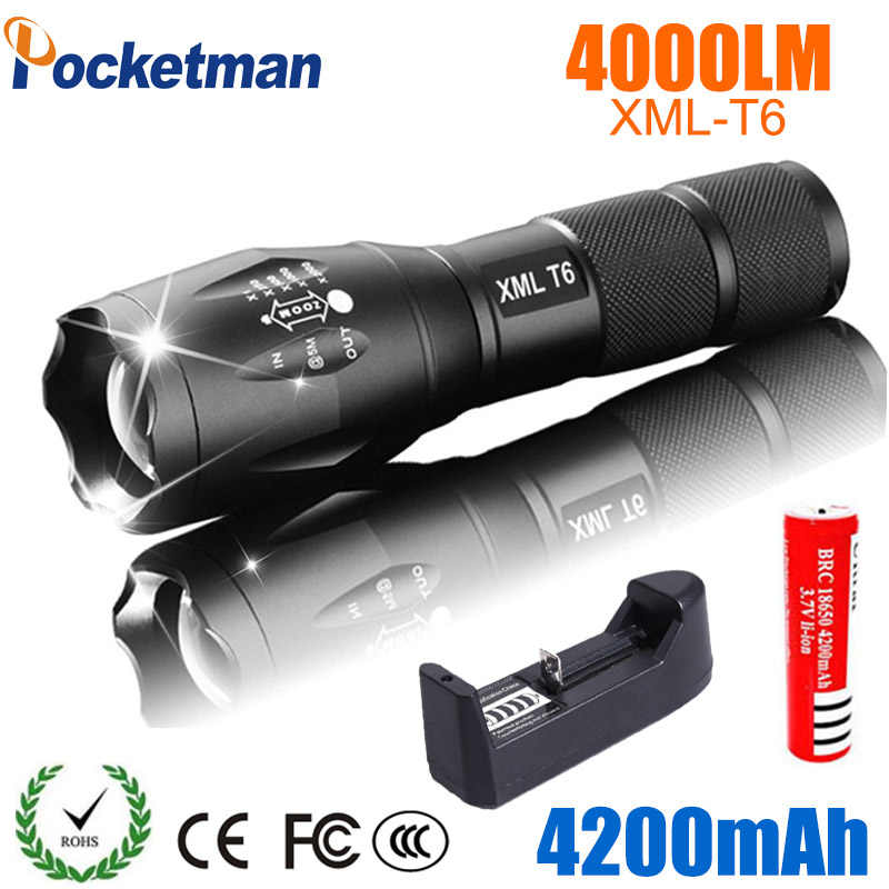 LED נטענת פנס Pocketman XML T6 linterna לפיד 4000 lumens 18650 סוללה חיצוני עוצמה Led פנס קמפינג