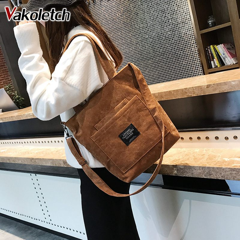 Casual Tote Female Crossbody Ladies Vintage Messenger Bags 2019 Women Corduroy Zipper Shoulder Bag Cotton Canvas Handbag KL672