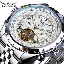 цена на Jaragar Tourbillon Men Mechanical Watch White Automatic Luminous Big Dial Analog Date Business Clock Steel Strap Watches Relogio