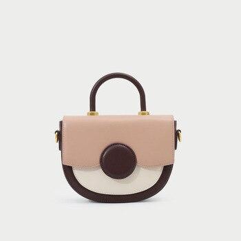 Women 2019 New Color Matching Saddle Bag Shoulder Portable Messenger Bag Fashion Small Round Bag