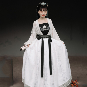 Hanfu New Chinese Ancient Clothes White Hanfu Chinese Traditional Clothes Ladies Summer Tang Dynasty Dress Stage Outfits SL2835