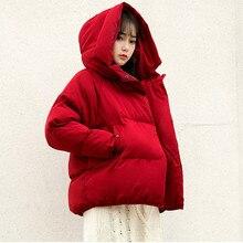 Плюс размер сплошной цвет с длинным рукавом зимнее пальто женщин свободного покроя сгустите теплые зимние короткие куртки Женские вниз хлопок с капюшоном верхняя одежда