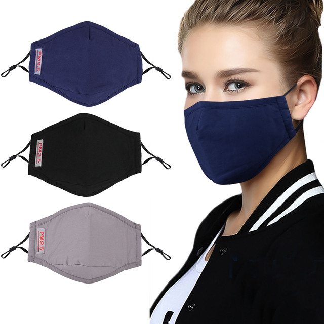 PM2.5 Black Mouth Face Mask Reusable Anti Dust Face Masks Activated Carbon Filter Windproof Mouth-muffle Bacteria Anti Flu Mask