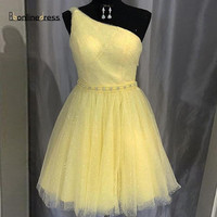 Bbonlinedress Yellow Homecoming Dress 2020 Sparkly Tulle One Shoulder Short Party Dress Vestidos de cocktail Graduation Dresses
