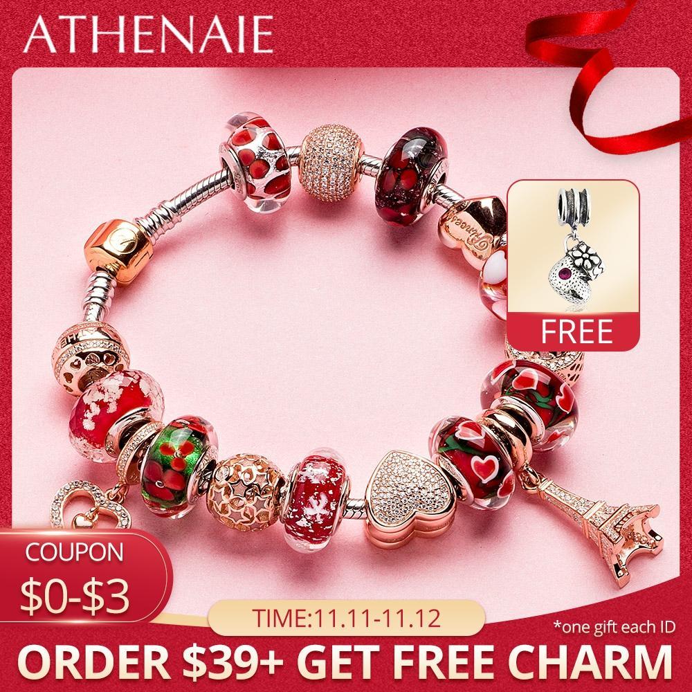 ATHENAIE 925 Bracelet en argent or Rose tour Eiffel pendentif & coeur perles breloque Bracelets & Bracelets pour femmes bijoux cadeau