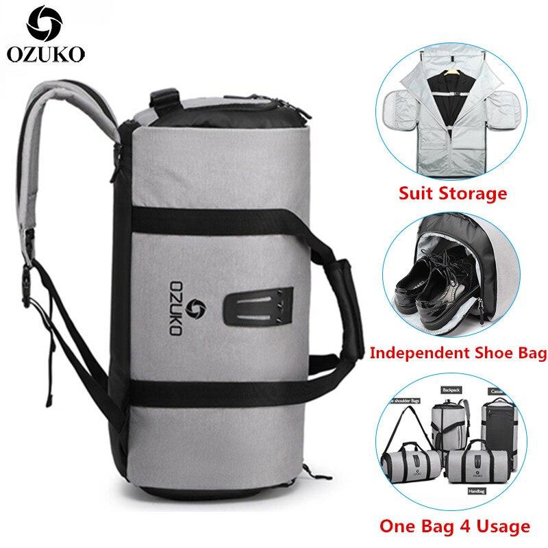 Bolsa de almacenamiento de traje OZUKO multifunción para hombre, bolsa de viaje de gran capacidad, bolsa de lona impermeable para equipaje de mano de viaje Pantalla Ultra grande de 3