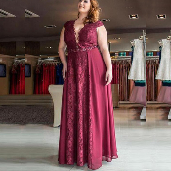 cut out v neckline knot front tee 2021 Charming Plus Size Red Lace Cap Sleeves Mother of the Groom Gowns V Neckline Beaded Mother Dresses Cut Out Back Full Length
