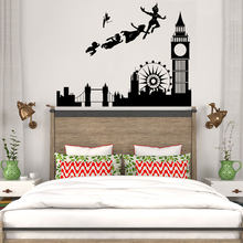 Adesivos de parede para crianças quartos decalque peter pan londres pirata dos desenhos animados mural crianças meninos quarto berçário decoração da sua casa moderna wl157