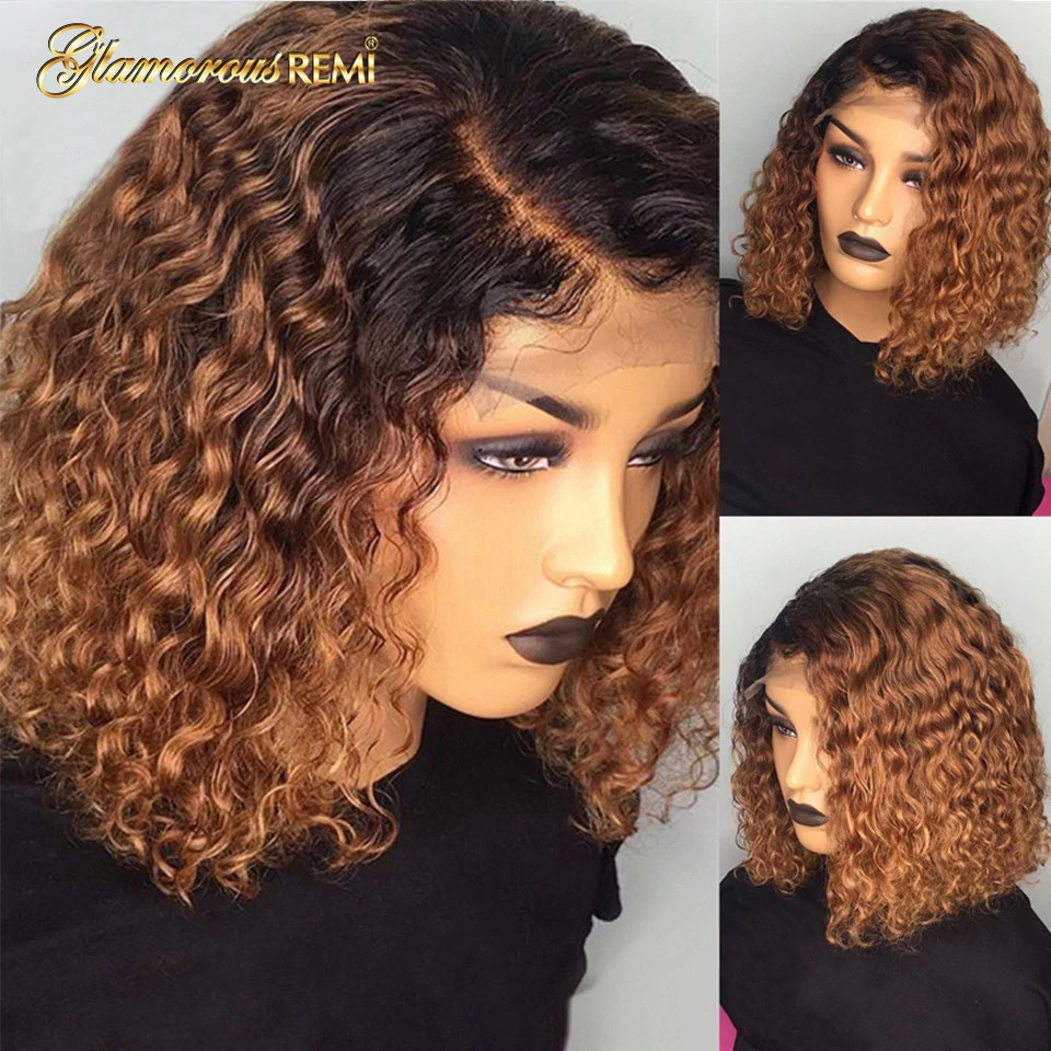 Ombre Curly Short Bob Wigs 1b/27  Curly Lace Front  Wigs With Baby Hair 4x4 Closure Wig  Density 150 4