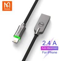 MCDODO-Cable USB de desconexión automática, Cable de datos LED de carga rápida para iPhone 12 11 Pro XS Max XR 8 7 6S Plus lightning para iPad